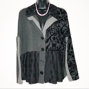 VENUS Creation L Black Mixed Media Cardigan | 14